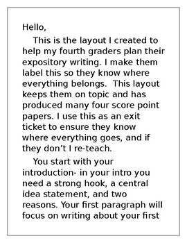 Expository Writing Fill in the Blank Exit Ticket