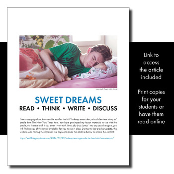 Expository, Non-Fiction Lesson on Modern Issues: Schools Want Teens to Sleep In