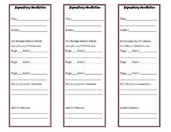 Expository Nonfiction Bookmark