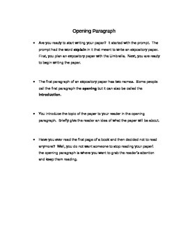 Expository OPENING PARAGRAPH