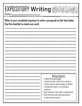 Expository Paragraph Graphic Organizer
