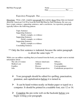 Expository Paragraph Lesson for Bull Run by Paul Fleischman