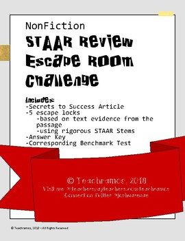 STAAR Review: Nonfiction Escape Room Challenge - with Bonus Benchmark Test!
