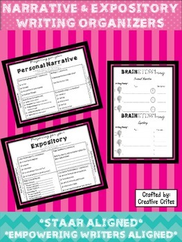 Expository & Personal Narrative Writing Graphic Organizers: STAAR Aligned!!