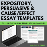 Expository, Persuasive, Cause/Effect Fill-in-the-Blank Essay Writing Templates