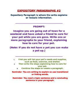 Expository Prompt #2 for a Paragraph (building up to essay)