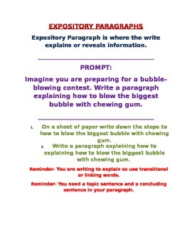 Expository Prompt # 3 for a Paragraph (building up to essay)