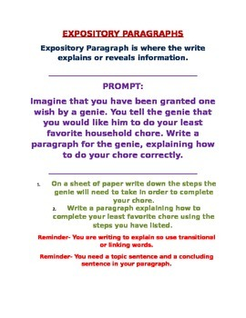 Expository Prompt for a Paragraph (building up to essay)