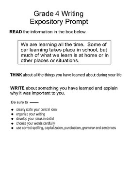 Expository Prompts 4th Grade STAAR Format By The WRITE Prescription