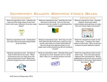 Expository Reading Response Choice Board