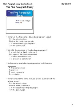 Expository Research 5-Paragraph Essay Assessment and Answer Key