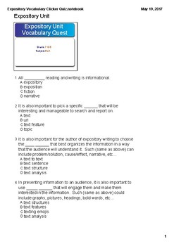 Expository Research Unit Final Vocabulary Paper Test and Answer Key
