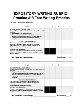 Expository Rubric Round Robin Grading Activity: Test Prep.