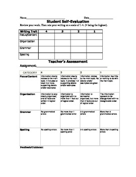 Expository Rubric with Student Self-Assessment