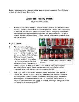 Expository STAAR Passage- Junk Food