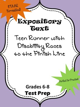 Expository STAAR formatted Teen Runner with Disability