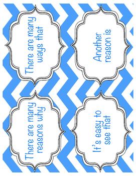 Expository Sentence Starter Transition Cards Flipbook