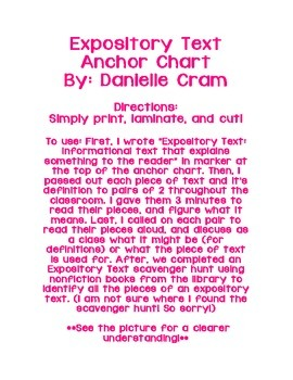 Expository Text Anchor Chart Activity