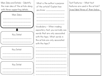 Expository Text Article Tri-fold