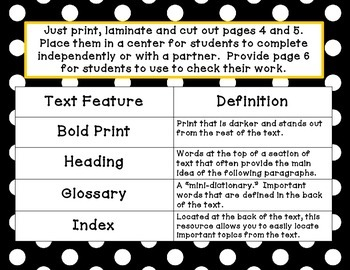 Expository Text Features Matching Activity