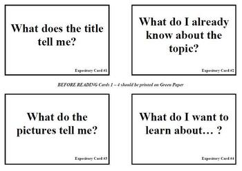 Expository Text Questions for Before During After Reading