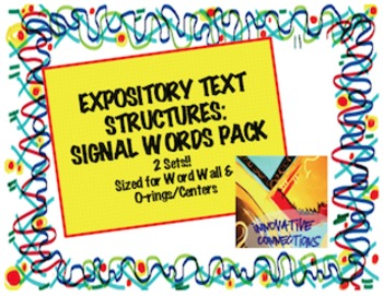 Expository Text Structures Signal Words Card Pack: Word Wall/Centers