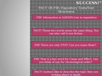 Expository Text Structures and Text Features - Fact or Fib