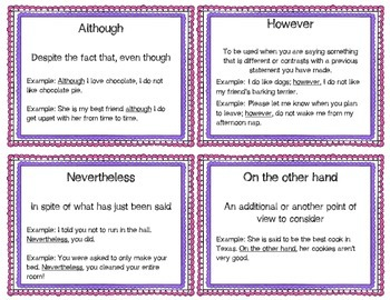 Expository Transitional Words Indicating Contrast Task Cards: Set 3