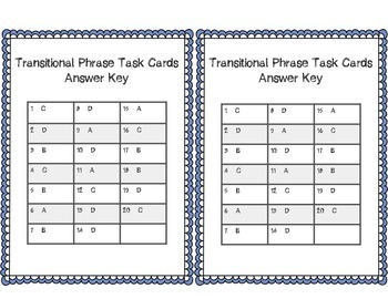Expository Transitional Words Task Cards Bundle Sets 1-3