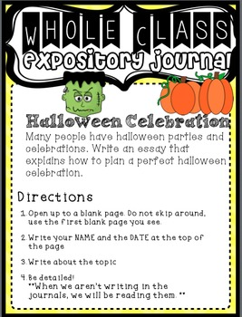 "Expository ""Work on Writing"" Upper Elementary: Fall, Halloween, & Thanksgiving"
