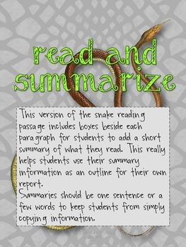 Expository Writing 2nd and 3rd Grade: Snakes!