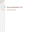 Expository Writing - Body Paragraphs - PowerPoint