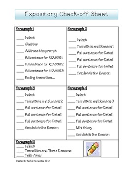 Expository Writing Check-off Sheet