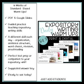 Everything You Need Expository Informational Writing - Daily Editing Warm Ups