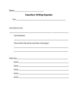 Expository Writing Draft Organizer