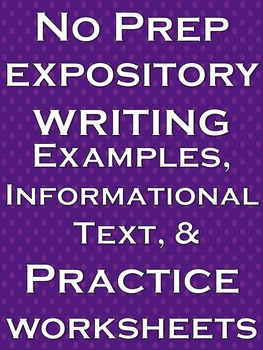 Expository Writing No Prep Lesson Literacy Practice Worksh