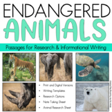 Distance Learning Endangered Animals Informational Writing