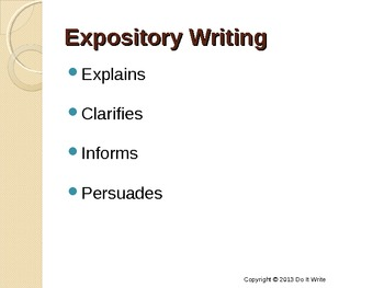 Expository Writing - Narration