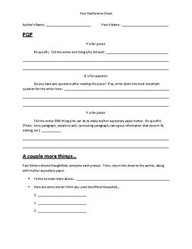 Expository Writing:  Peer Conference Sheet/ PQP