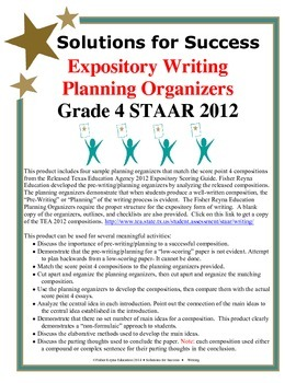 "Expository Writing Planning Organizers for TEA 2012 ""4"" Co"