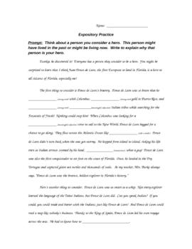 Expository Writing Practice - Cloze