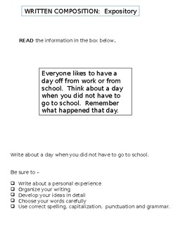 Expository Writing Prompt Template