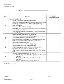 Expository Writing Rubric, 3rd Grade
