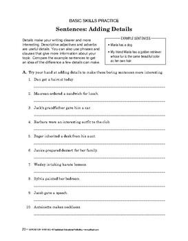 Expository Writing: Sentences: Adding Detail