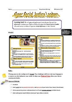 Expository Writing: Social Justice Leader Trading Card
