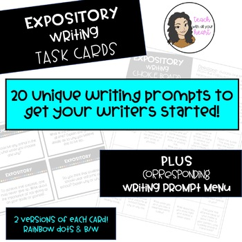 EXPOSITORY Writing Task Cards and corresponding Choice Board / Writing Menu