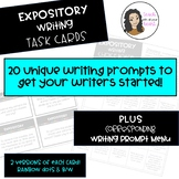EXPOSITORY Writing Task Cards and corresponding Choice Boa