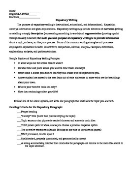 Expository Writing Worksheet and Sample Paragraph
