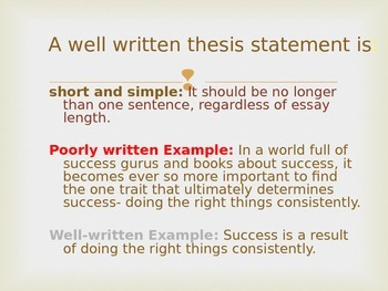 Expository Writing and Thesis Statement