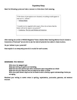Expository and Persuasive EOC STAAR Prompts